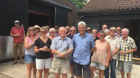 Reedham footpath campaigners ready to set off on their latest walk. Picture: David Hannant
