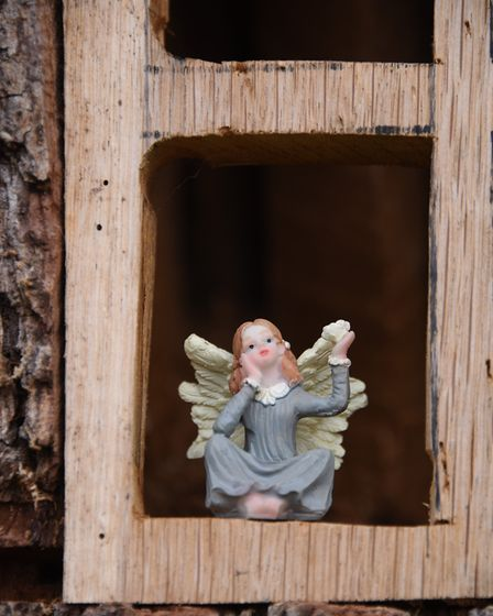 A fairy in one of the windows at Emily's House, the fairy tree in the front garden of Neil and Jan R