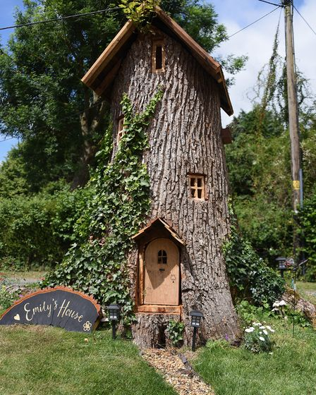 Emily's House, the fairy tree in the front garden of Neil and Jan Rafis at Wreningham, made from an