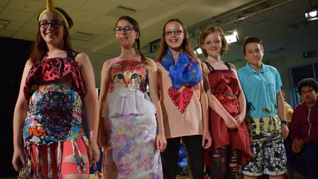 Students model fashions at school show