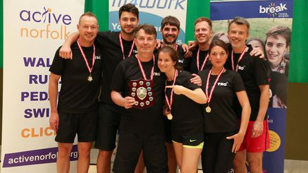 The team from events company TRO, winners of the 2017 Fit4Work Corporate Games at UEA Sportspark. Pi