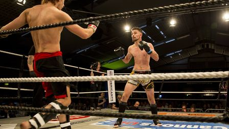 Evan Hubbard Norman, right, looked composed in a very impressive K1 debut at Contenders 19. Pictures