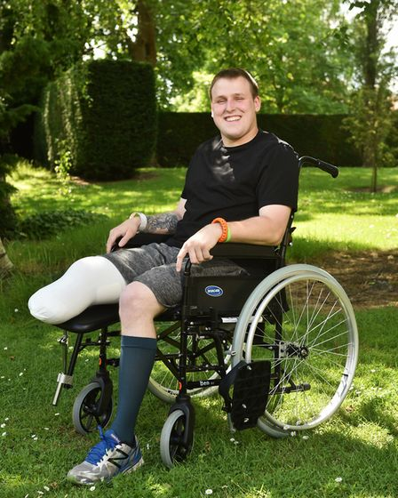 Jordan Greenwood, from Thetford, lost a leg in a motorbike crash the day before he was due to emigra