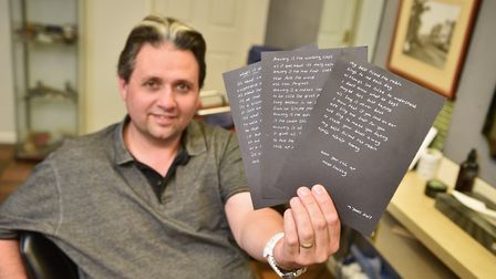 Gary Thompson, owner of GT's Male Hair Design salon has received poems through the post. Picture : A