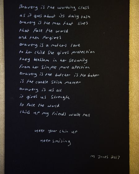 The second poem he received. Picture : ANTONY KELLY