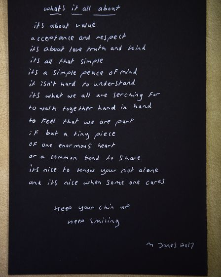 The third poem he received. Picture : ANTONY KELLY