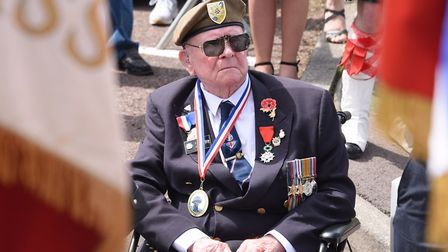 Normandy veteran, Len Fox, at the remembrance ceremony at Rots. Picture: DENISE BRADLEY