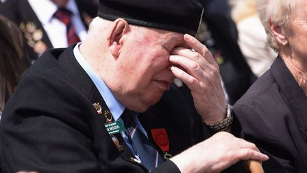 Emotions running high for Normandy veteran, Jack Woods, at the remembrance ceremony at Rots. Picture
