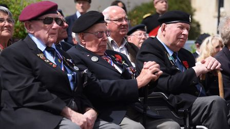 Norwich and district Normandy veterans, front from left, Len Mann, Alan King, and Jack Woods, at the