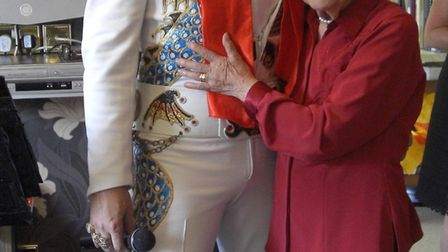 Cordelia Nickerson, 100, with Elvis tribute act Peter King. Picture: Pan Publicity