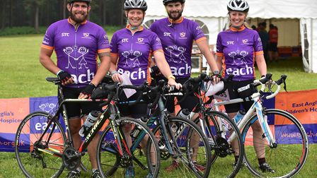 The EACH Ride For Life from Thetford Forest 2016. The Coastbusters EACH team, left to right: Jack a