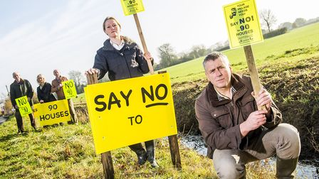 Residents of Mattishall protest against 90 new houses that were proposed to be built on the edge of