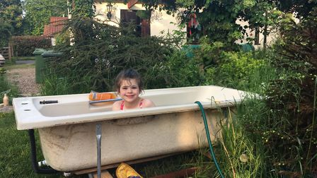 Having to bath in the garden isn't actually that big a deal. Picture supplied