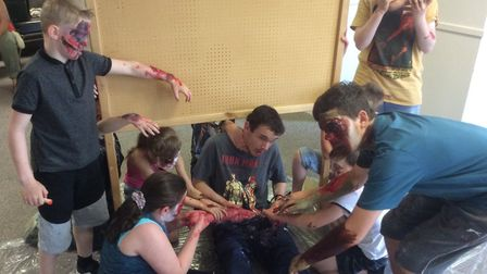 Half term zombie make up session at the Marina Theatre in Lowestoft. Photo: Joe Randlesome.