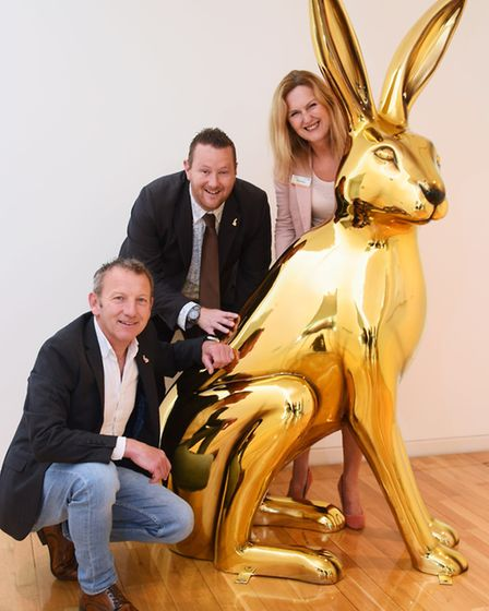 Sheridan Smith from Intu Chapelfield with the first decorated GoGoHare, Osc-hare after its unveiling