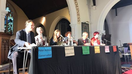 Waveney candidates at the Lowestoft hustings at Christ Church. Picture: Amy Smith