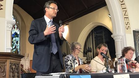 Conservative's Peter Aldous speaking at the hustings in Lowestoft. Picture: Amy Smith