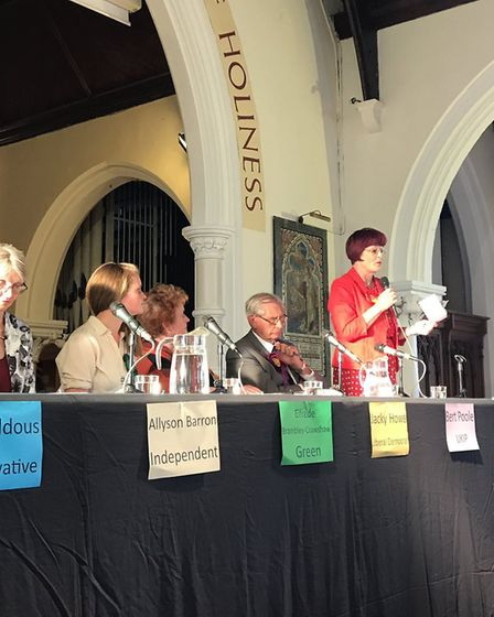 Waveney candidates at the Lowestoft hustings with Labour's Sonia Barker on the microphone. Picture: