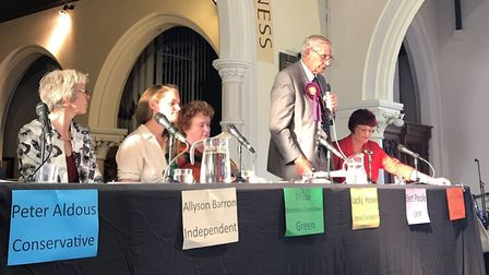 Waveney candidates at the Lowestoft hustings with UKIP's Bert Poole on the microphone. Picture: Amy