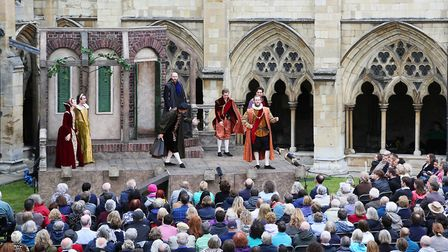 The Lord Chamberlain's Men perform Much Ado About Nothing at Norwich Cathedral. Photo: Paul Hurst.