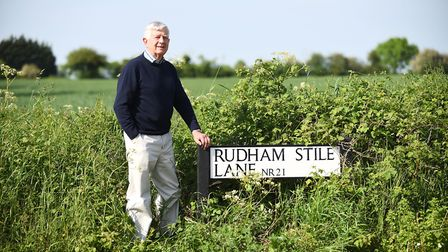 Fakenham mayor George Acheson, pictured close to the site where 950 homes are planned. Picture: Ian