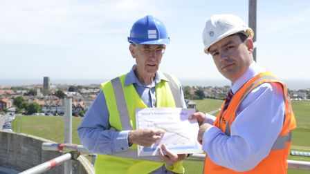 Edward Jackson from SOS Swifts with Essex and Suffolk Water's Oliver Rogers at the top of Southwold