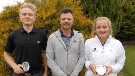 Imogen Leeder (right) pictured with fellow junior Max Jacob and tournament professional Andrew Marsh