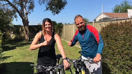 Lisa and Jon Fahey, from Oulton Broad, are getting ready for an epic cycle for charity. Picture: Cou