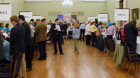 The Norwich South election count gets under way at the Assembly House. Picture: DENISE BRADLEY