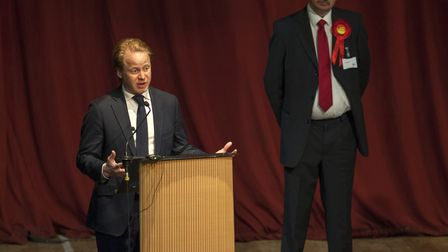 UK general election 2017 - Ipswich count at the Corn Exchange Outgoing MP Ben Gummer says a few wor