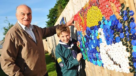 1st Eye scouts join the residents and staff at Hartismere Place Eye after donating art works as part