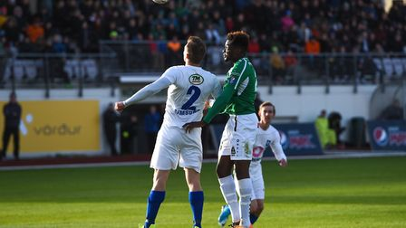 Norwich City youngster Michee Efete in loan action for Icelandic club Breidablik. Picture: Blikar.is