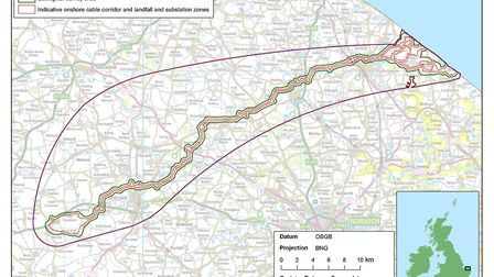 Where the cables for Vattenfall's wind farms could be buried in Norfolk. Pic: Vattenfall