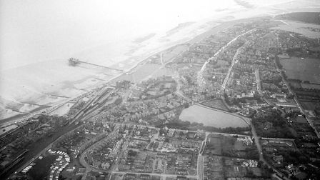 An aerial view of Hunstanton, believed to have been taken in the 1940s or 50s. Picture: Archant libr