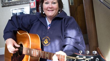 Aileen Mobbs at the Imperial Hotel, with the guitar once owned by Cliff Richard. Picture by TMS Medi