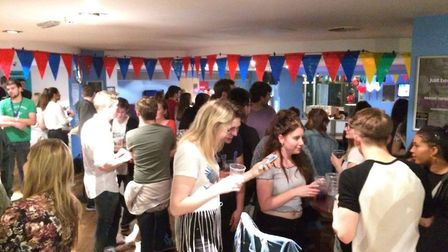 UEA students have gathered in the students' union bar to watch the election results come in. Photo: