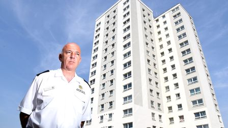 Paul Goodman from Suffolk Fire and Rescue Service outside St Peter's Court, Lowestoft.Picture: Nic