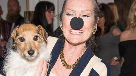 Actress Lorraine Chase posing with a nose for Wetnose Day. Picture: Courtesy of Wetnose Animal Aid.