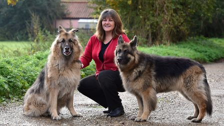 Andrea Gamby-Boulger, founder of Wetnose Animal Aid with her two dogs. Picture: Nick Butcher.