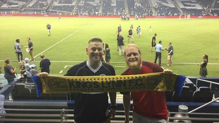 Richard Peacock (right) with friend Garrett Page at a Sporting Kansas City match, sporting a Linnets