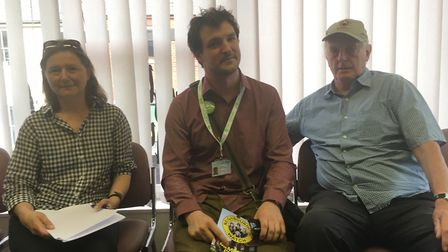 From left, Gail Mayhew, Simoen Jackson and ian Gibson at the meeting about Anglia Square. Picture: S