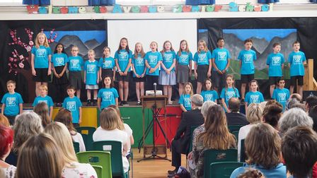 The Come Yew In! choir from Avenue Junior School. Photo: Jake Brown