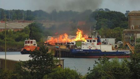 A fire at Brooke Yachts in Lowestoft, taken by local author Crispin Hook. Picture: Crispin Hook