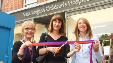 At the official opening of the EACH charity shop in Fakenham are (from left) Dianne Rowe, The Counte