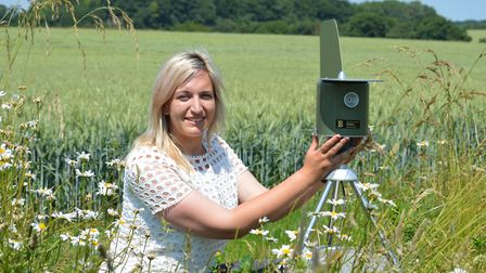 Frontier Agriculture's trials site at Honingham Thorpe Farms. Pictured is agronomist Emily Page.