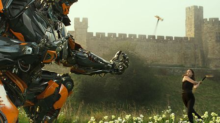 Transformers: The Last Knight featuring Hot Rod and Laura Haddock as Viviane Wembly. Picture: Paramo