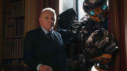 Sir Anthony Hopkins and Transformer Hot Rod in Michael bay's Transformers: The Last Knight. Picture: