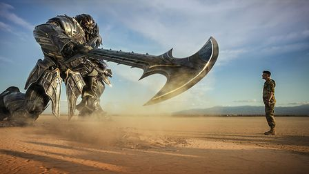 Transformers: The Last Knight with Megatron (voiced by Frank Welker) and Josh Duhamel as Lennox. Pic