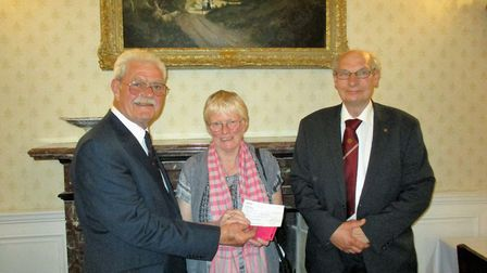 Former president of the Norwich Circle of the Catenians Association Roger Hayes (right) who donated