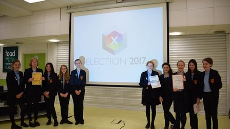 """Party representatives campaign for votes at Dereham Neatherd High School's """"general"""" election. Pictu"""